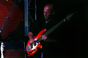 (Bass player) Dave Marotta during a performance with The Carl Verheyen Band at Bogies Bar, Jun 12, 2014 Bourgeois Magazine LA