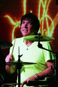 (Drummer) Walfredo Reyes Jr. during a live performance with The Carl Verheyen Band, at Bogies Bar, Jun 12, 2014 Bourgeois Magazine LA