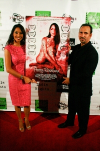 Writer/Actress Chuti Tiu and Oscar Torre attend the premiere of Pretty Rosebud, Jan 16, 2015, at the Arena Cinema. Copyright 2015 Bourgeois Magazine LA